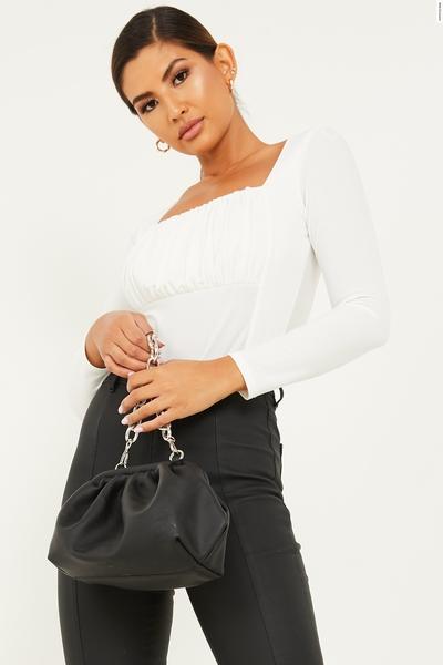 Cream Ruched Long Sleeve Bodysuit